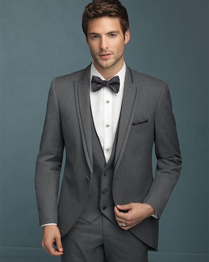 prom suits men groom tuxedo charcoal grey for wedding custom made ...