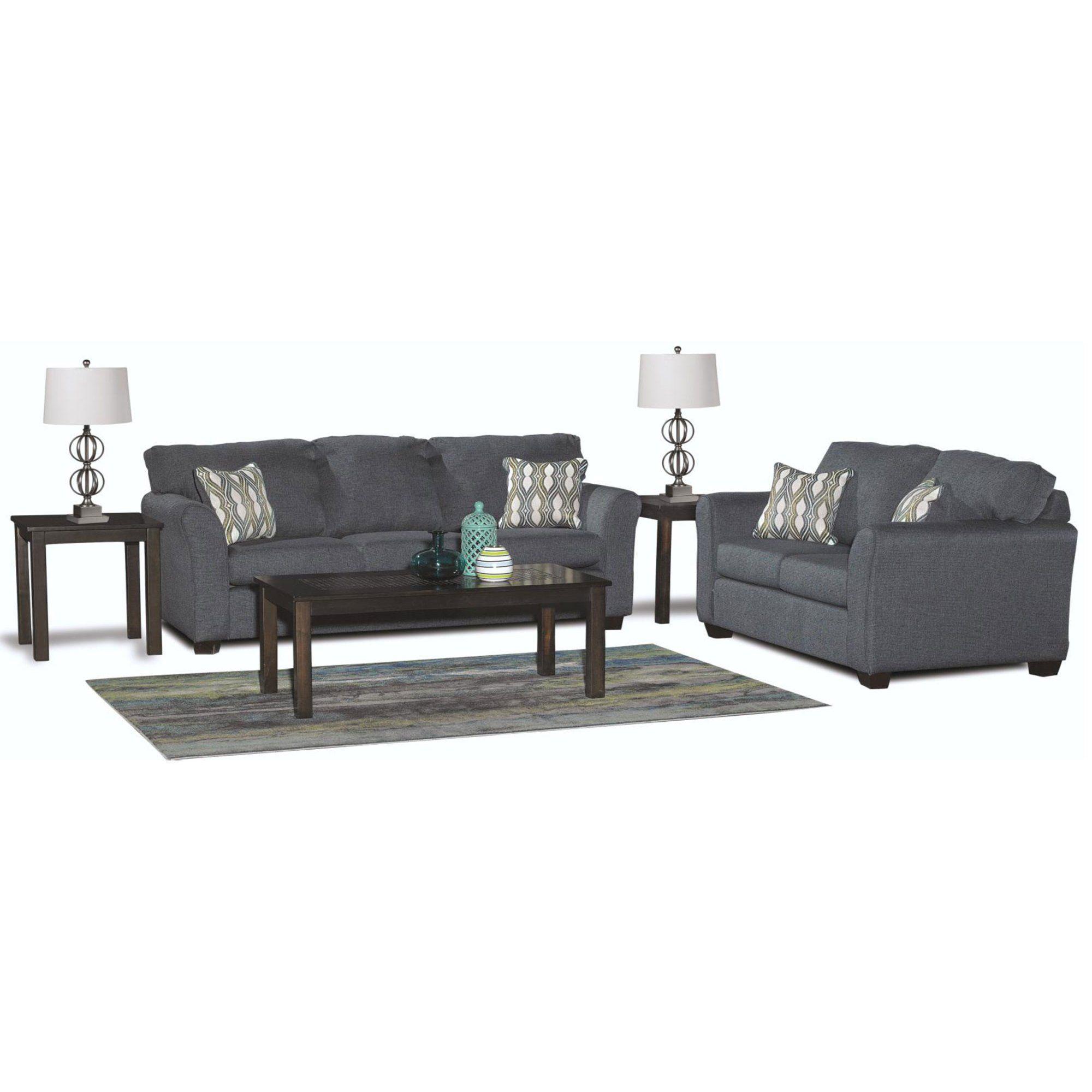 Best Contemporary Blue 7 Piece Living Room Set Wall St 400 x 300