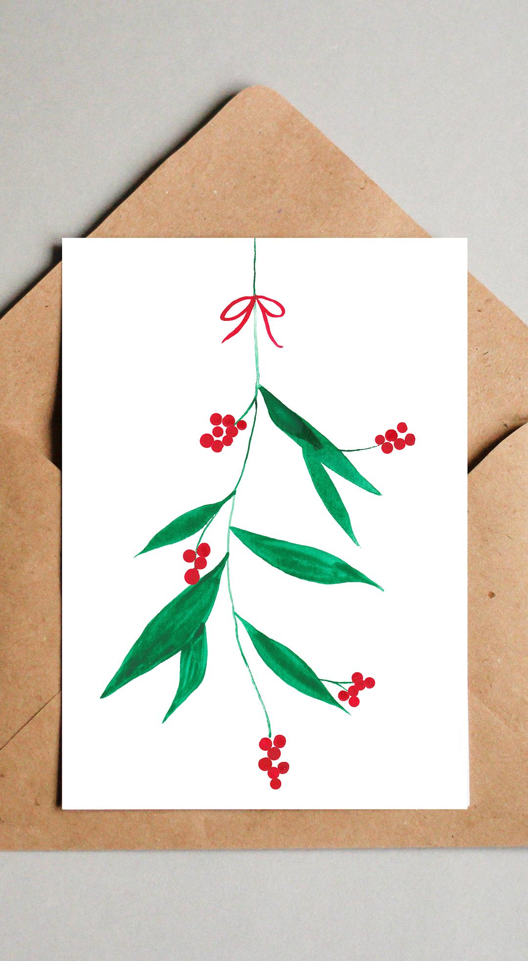 Moderne Weihnachtskarten Basteln.Moderne Weihnachtskarte Mit Mistelzweig Aquarell Druck Zum