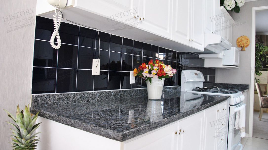 blue kitchen ideas pearl granite countertop gallery