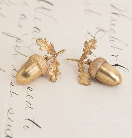 Victorian Oroide Gold Acorn Earrings Circa 1870