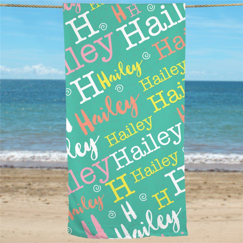 Typewriter Word Art Girls Personalized Beach Towel Beach