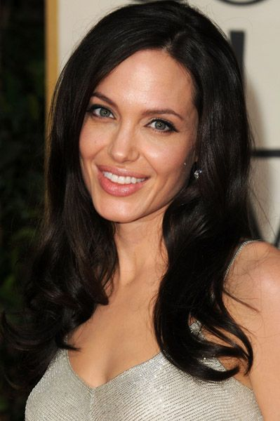 Angelina Jolie with dark hair