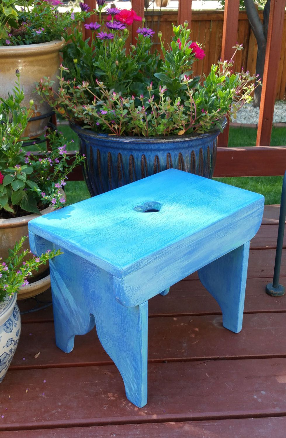 Family heirloom quality wooden step stool with well worn antique ...