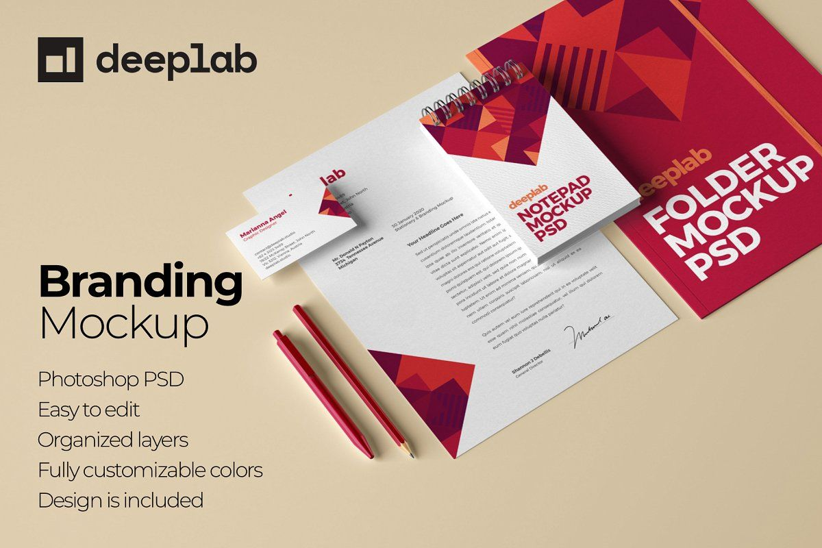 Download Business Card Letterhead Mockup Free Yellowimages