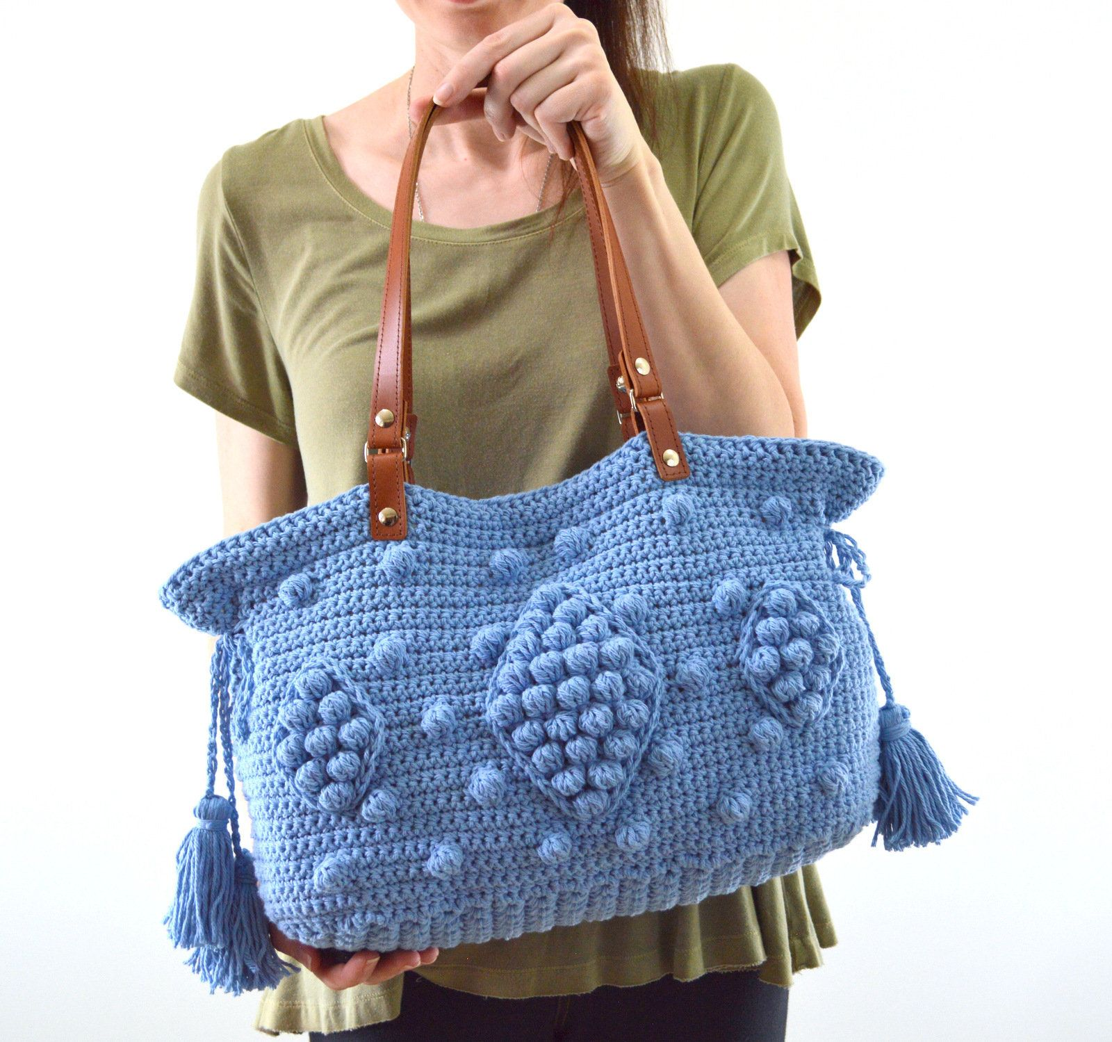 5e199b53e5 Gerard Darel Dublin 24 Hour Inspired Crochet Handbag with Genuine Leather  Handles, Crochet purse,