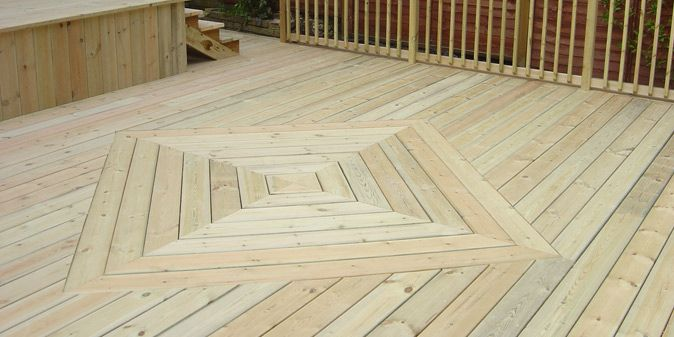 Striking Square Or Diamond Pattern In The Decking Boards