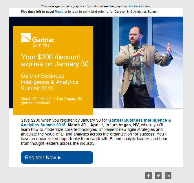 Gartner Email Promoting Business Intelligence Summit With
