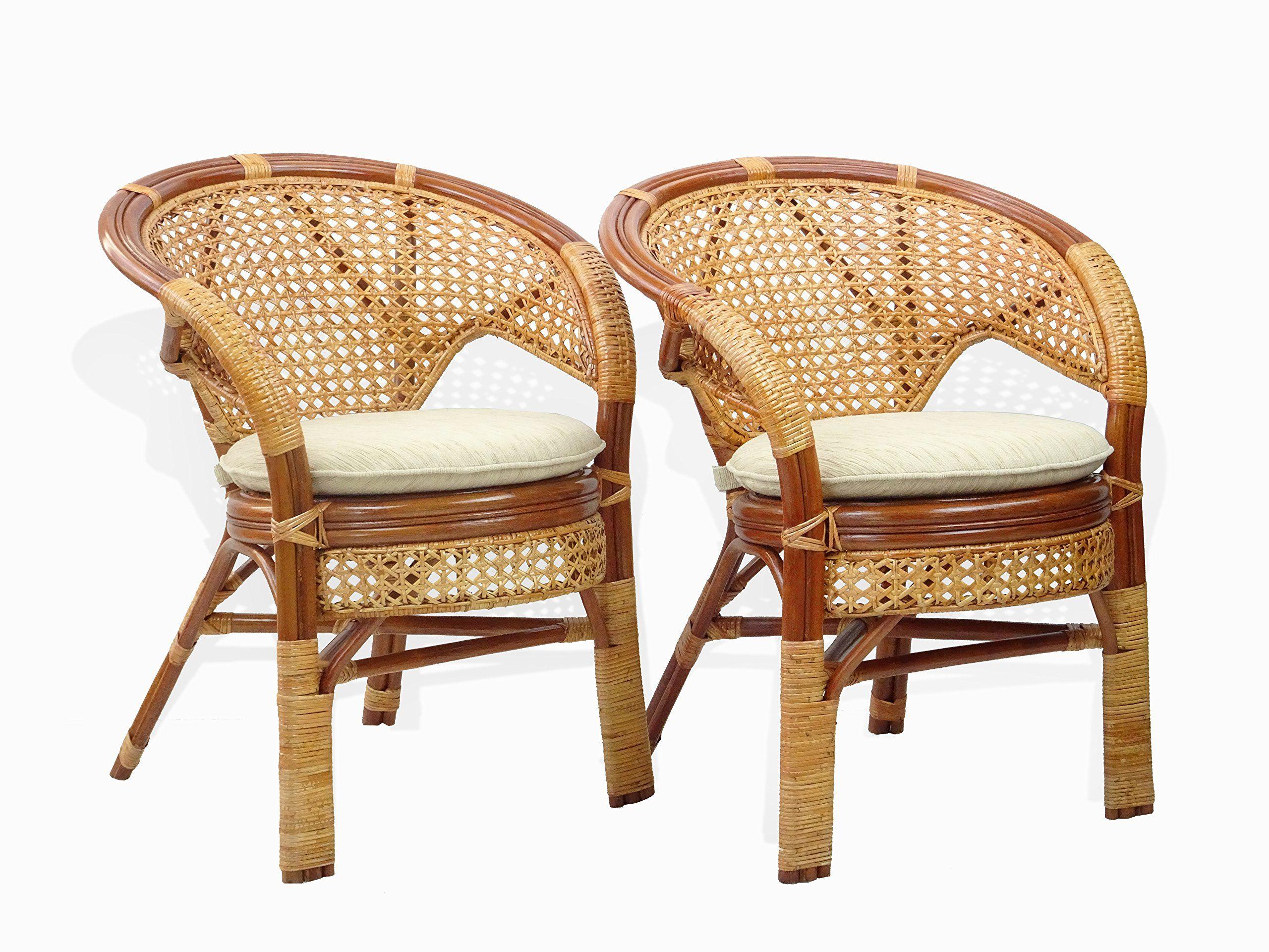 Pelangi Handmade Rattan Dining Wicker Chair W Cushion Colonial