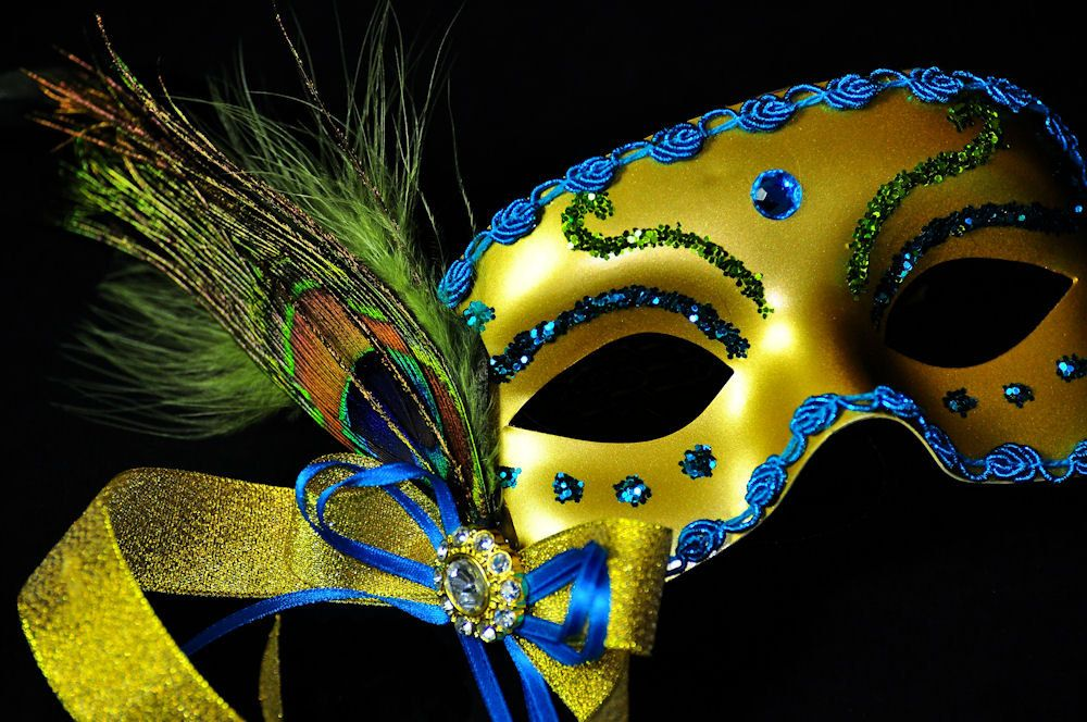 Ball Party Gold//Turquoise Feather Masquerade Mask  Fancy Dress Mardi Gras