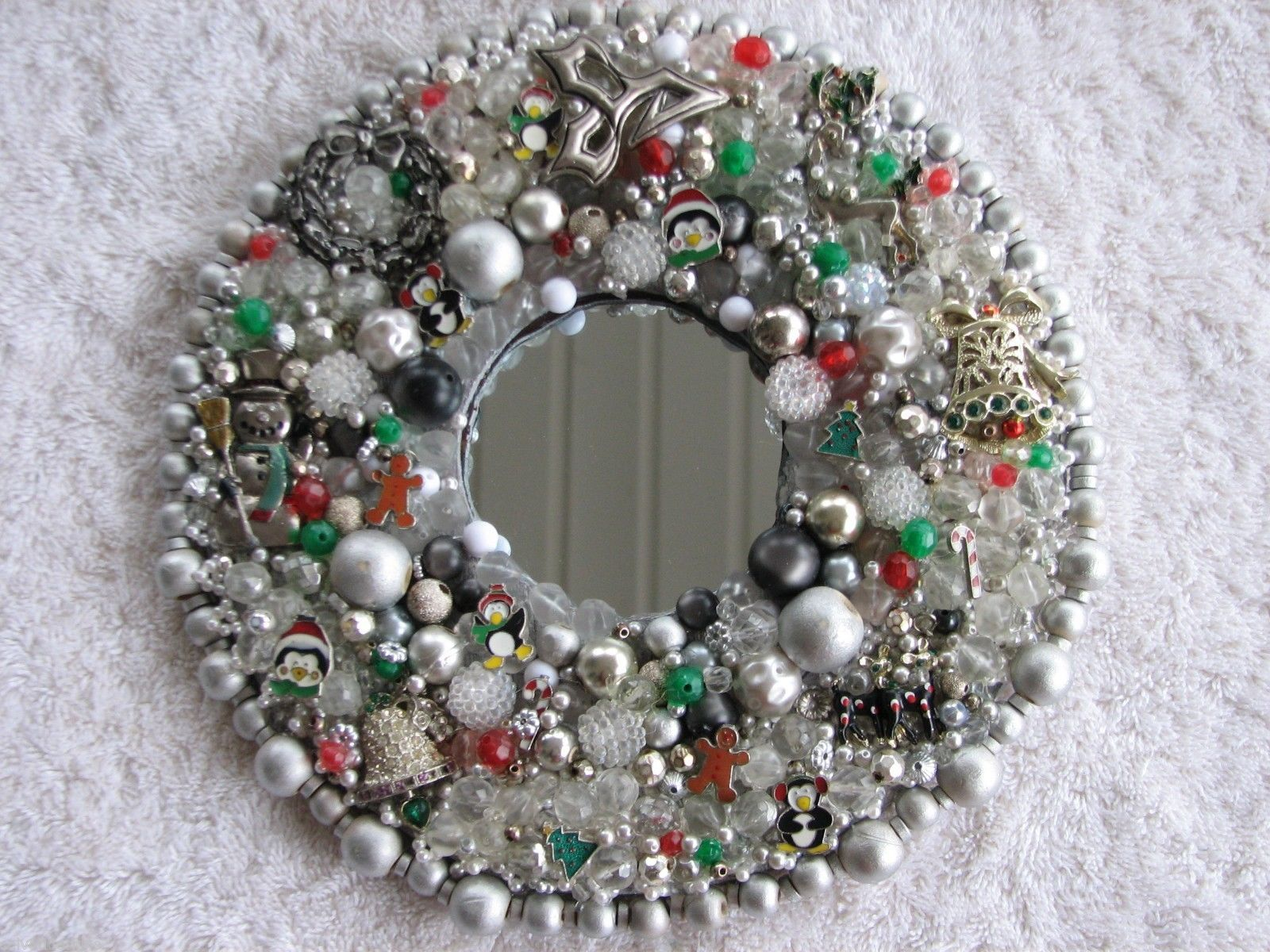 Holly Mirrored Christmas Wreath Decor Art Upcycled Vintage Mod Jewelry | eBay