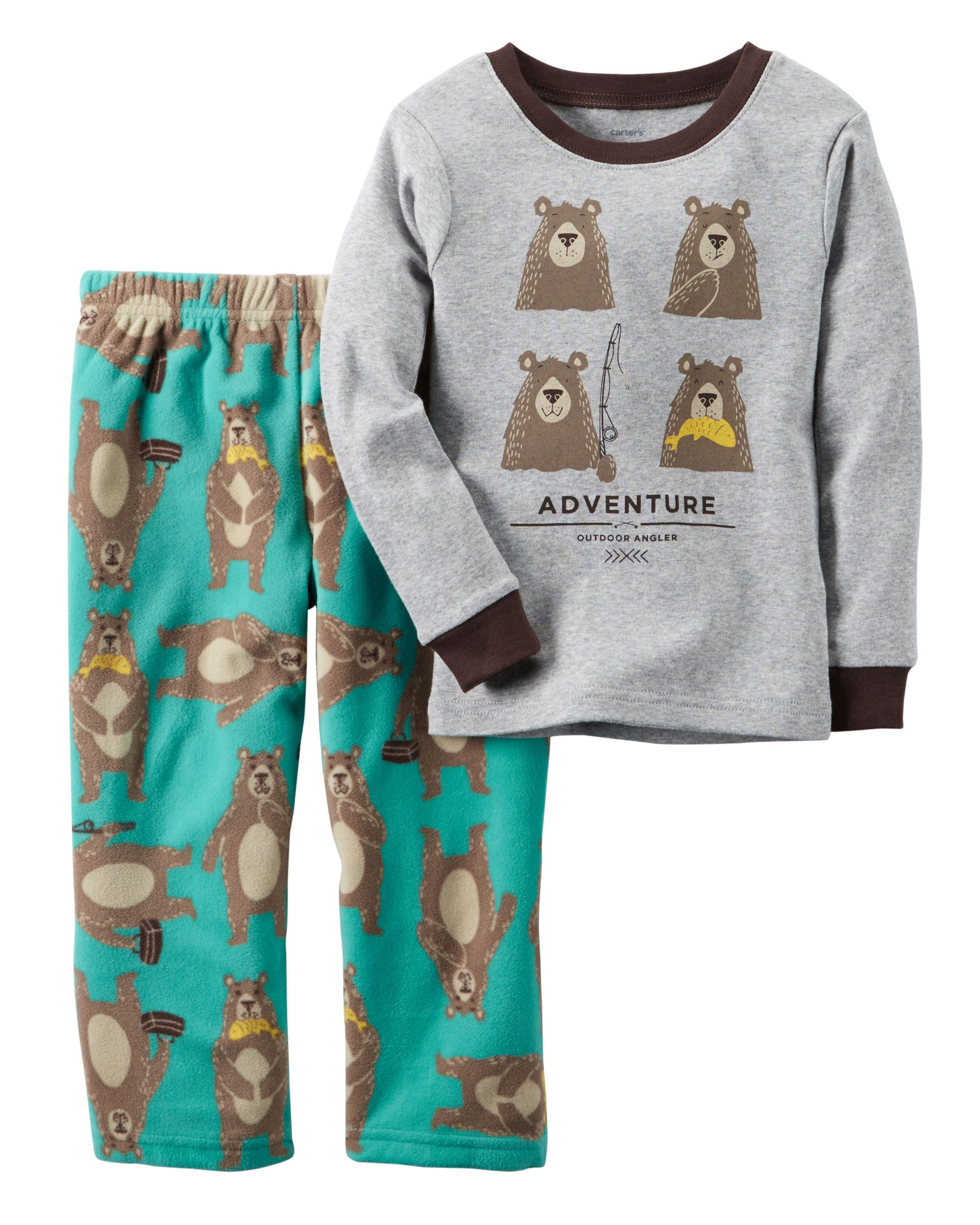 2dedaad3a2e3 Baby Boy 2-Piece Cotton   Fleece PJs