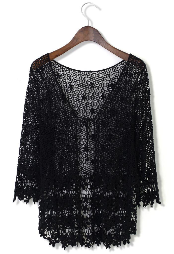 Delicate Hollowed Crochet Open Cardigan in Black