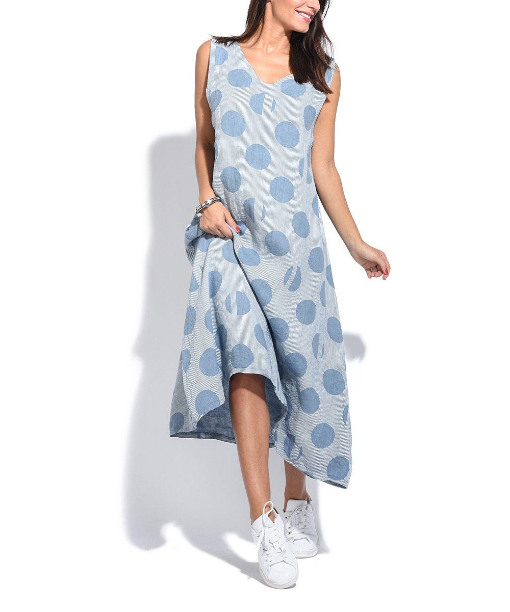 Blue Dot Linen Maxi Dress