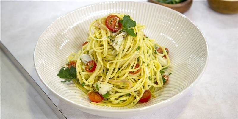 Linguine with crab and white wine recipe food recipes
