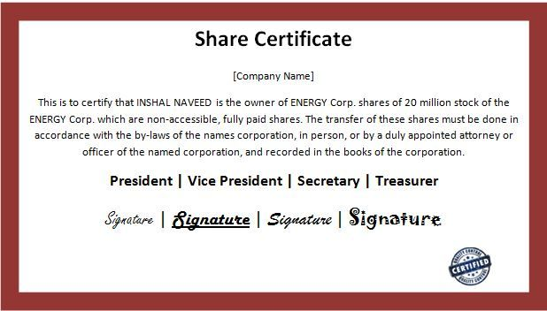 10+ Share Certificate Templates | Word, Excel & PDF Templates | www ...