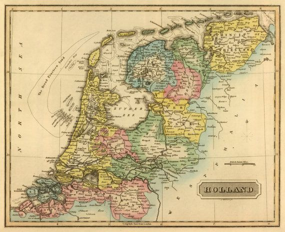 Old map of The Netherlands - Holland map print - Vintage maps - copy world map vector graphic