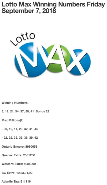 Lotto Max winning numbers Friday September 7, 2018