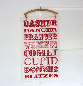 Reindeer Names Tea Towel Tableware From Not On The High Street Reindeer Names Original Christmas Gift Tea Towel Gift