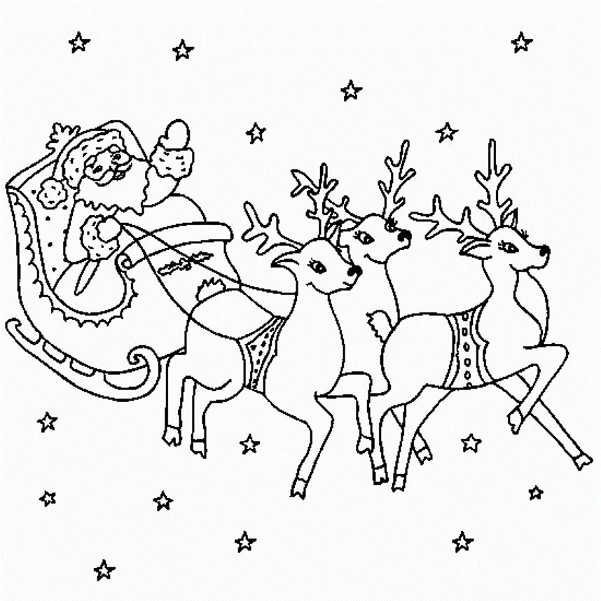 Santa Sleigh Reindeer Coloring Pages Christmas Coloring Pages Reindeer Drawing Santa And Reindeer