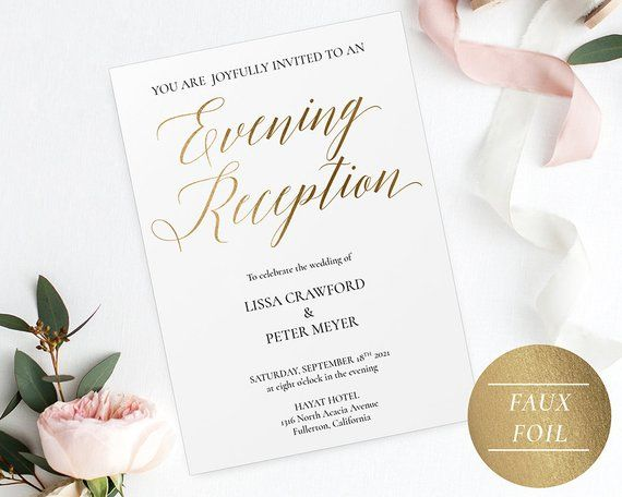 Evening Reception Invitation Template Gold, Gold Evening Invitations