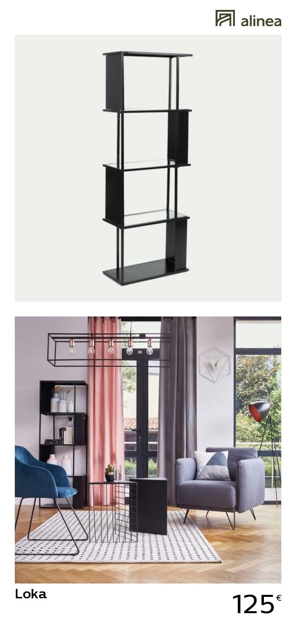 c4eff5d020d63d alinea   loka étagère en métal noir et verre h170cm meubles salon  bibliothèques et étagères -