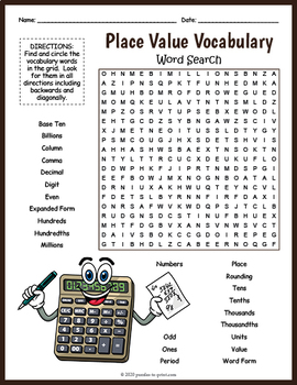 Math Vocabulary Worksheet Place Value Word Search Fun By Puzzles To Print Math Vocabulary Math Vocabulary Words Vocabulary