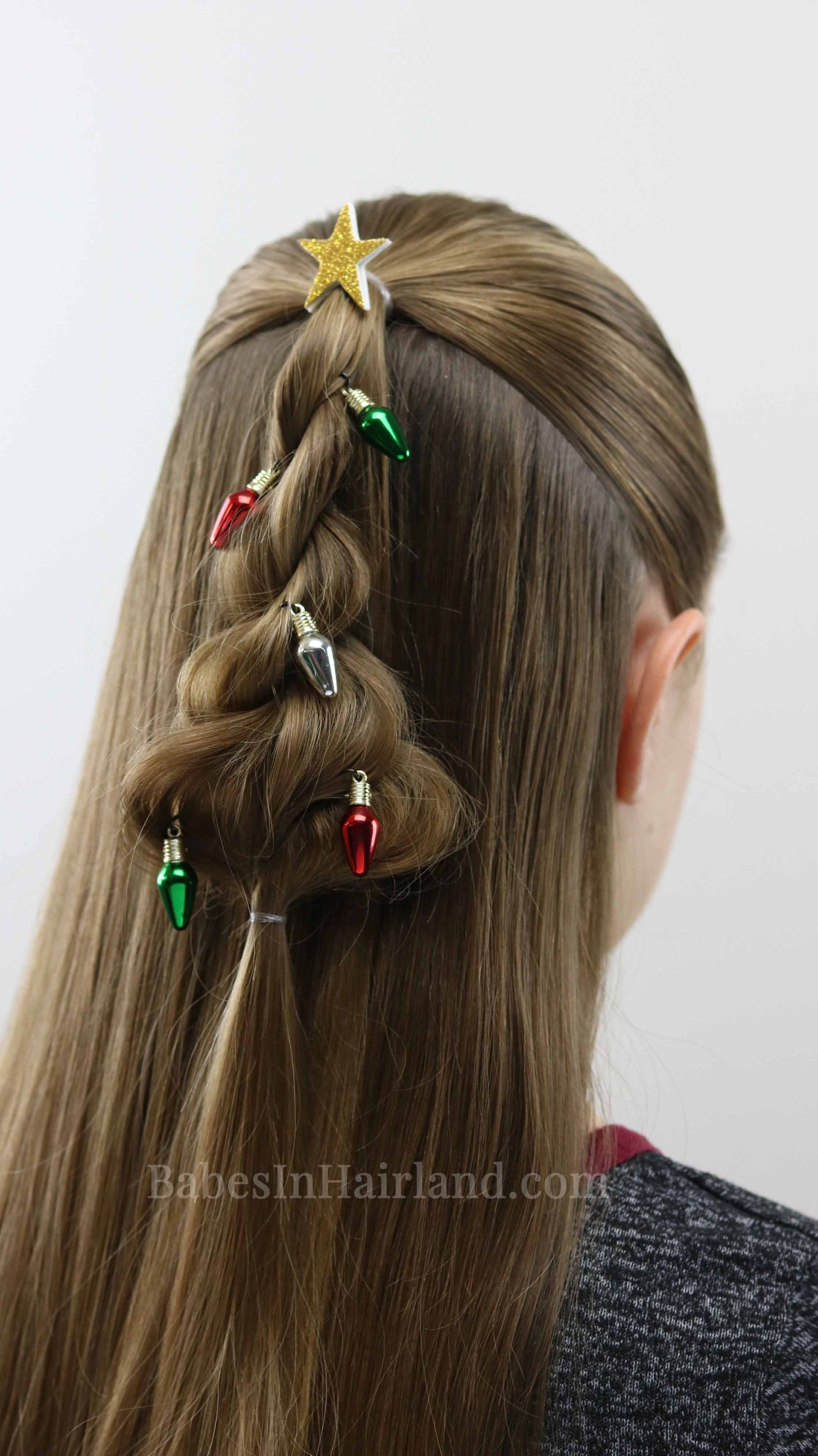 Decorate Your Hair For Christmas Too With This Cute Twisted Christmas Tree Hairstyle From Babesinhairland Com Current Hair Styles Hair Styles Diy Hairstyles