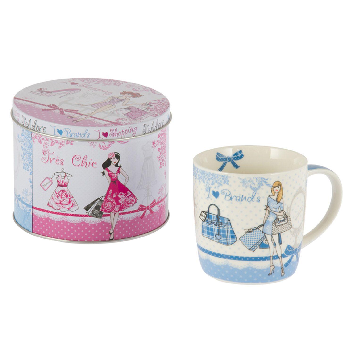Kitchen Accessories Brands: Taza Grande I Love Brands Con Caja Metálica De Retro Mug