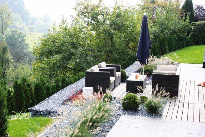 So lässt es sich am Hanggarten sitzen! Garten Hanggestaltung - moderne gartengestaltung exklusiver