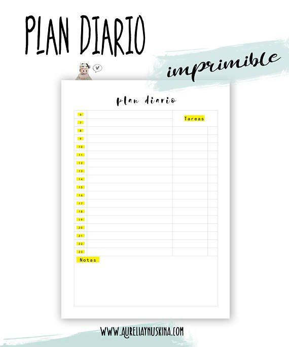 Planificador diario. Inserto agenda. Planning   Planificadores ...