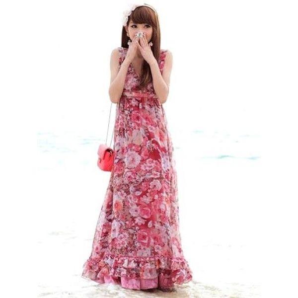 floral chiffon maxi dress | Red Floral Chiffon Beach Maxi Dress