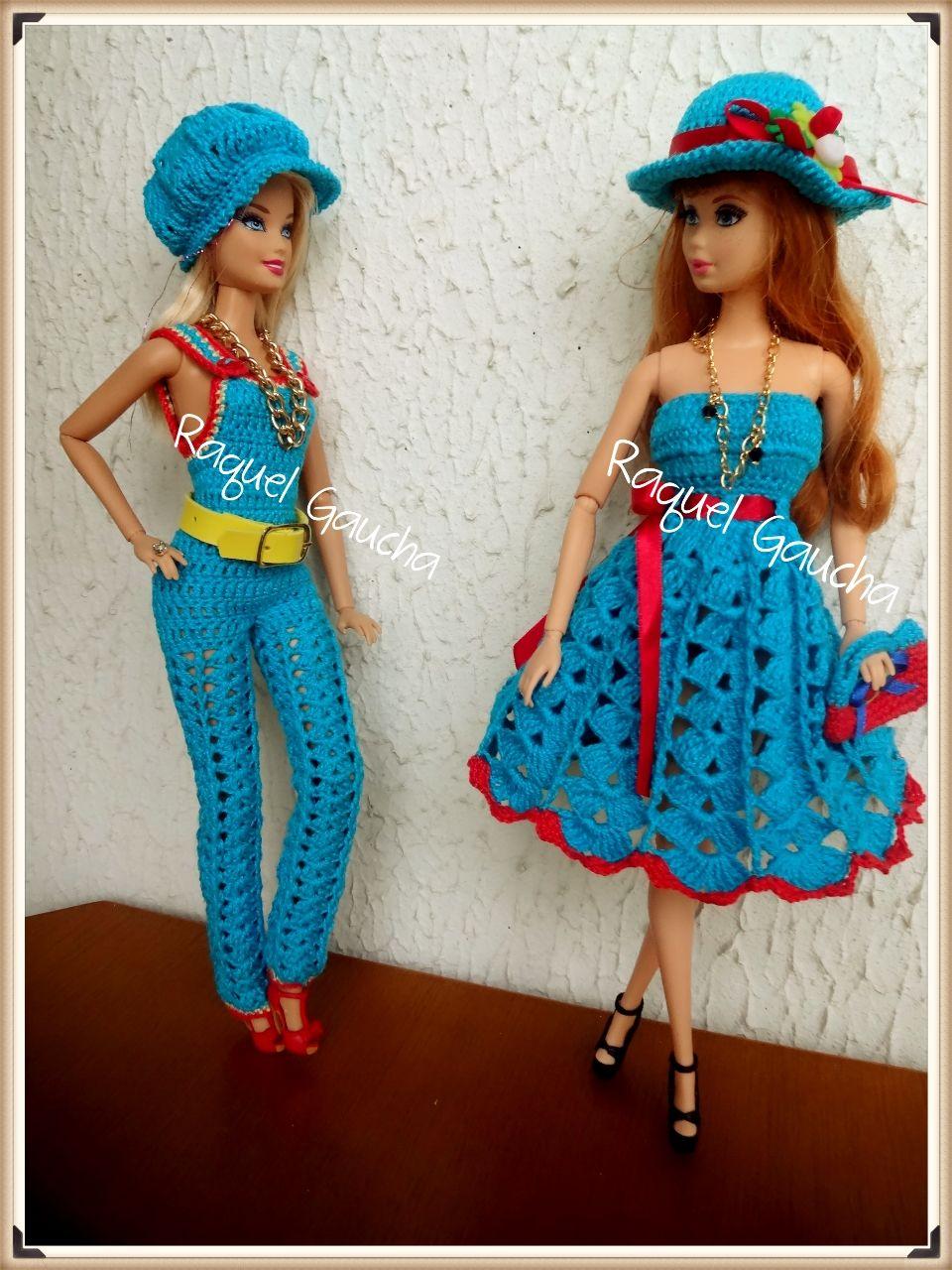 Barbie #Vestido #Dress #Doll #Muñeca #Crochet #Chapéu #Hat #Bolsa ...