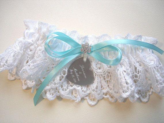 Robins Egg Blue Satin Wedding Garter Set with Aqua Rhinestones and Personalized Engraving