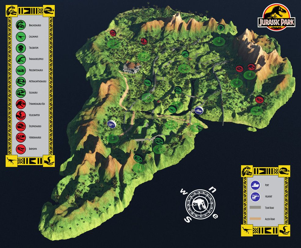 Jurassic Park Map Here's a 3d model of Jurassic Park made into a map for the  Jurassic Park Map