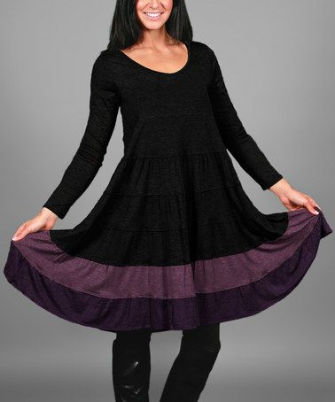 d397044064bd Another great find on  zulily! Black   Purple Color Block Scoop Neck Dress  - Plus  zulilyfinds