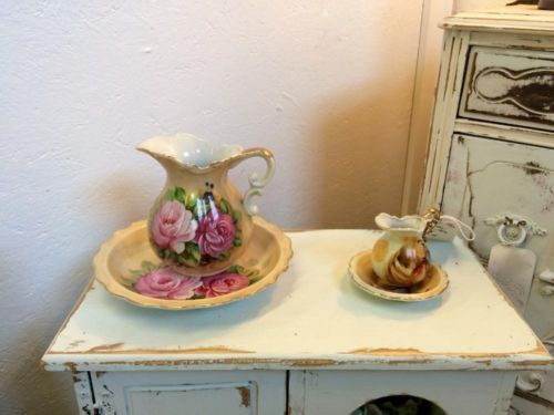 Lefton Jug and Plate Set   Small $10  Large $20   Dallas Vintage Market Booth #7777  White Elephant 1026 N. Riverfront Blvd. Dallas, TX 75207   Read more: http://dallas.ebayclassifieds.com/home-decor/dallas/lefton-jug-and-plate-set/?ad=40398249#ixzz3gCJKDzdG