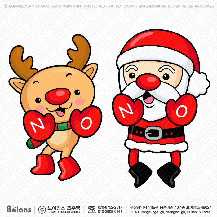 Vector Santa Claus and reindeer character are warning