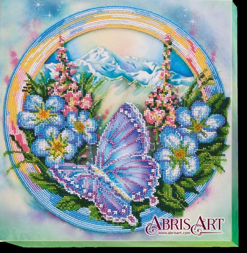 Blue butterfly diy bead embroidery kit diy gift idea
