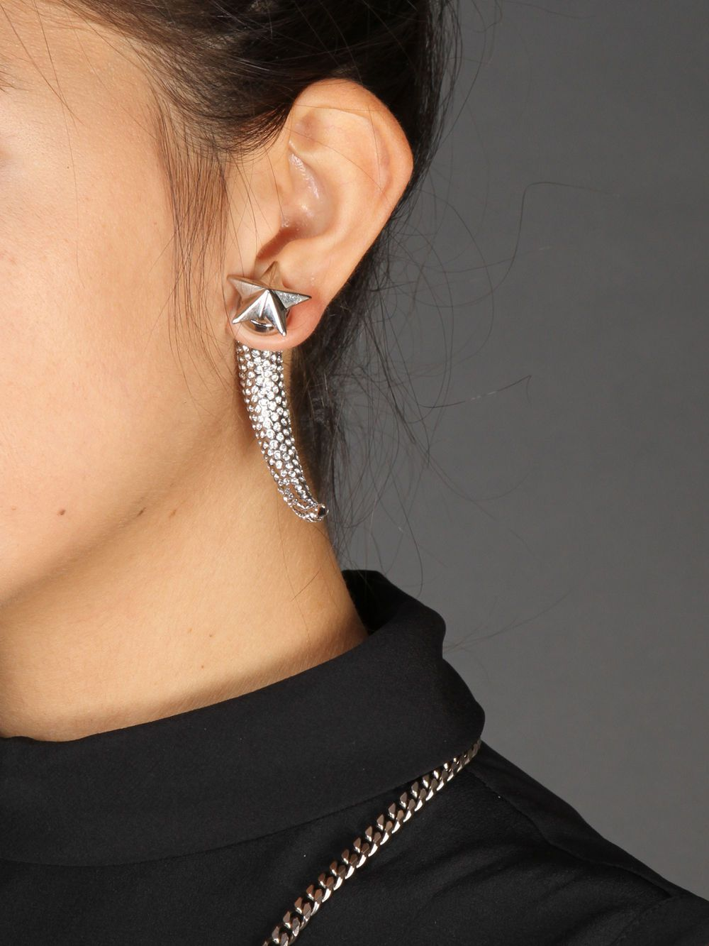 Givenchy Strass and Palladium earring