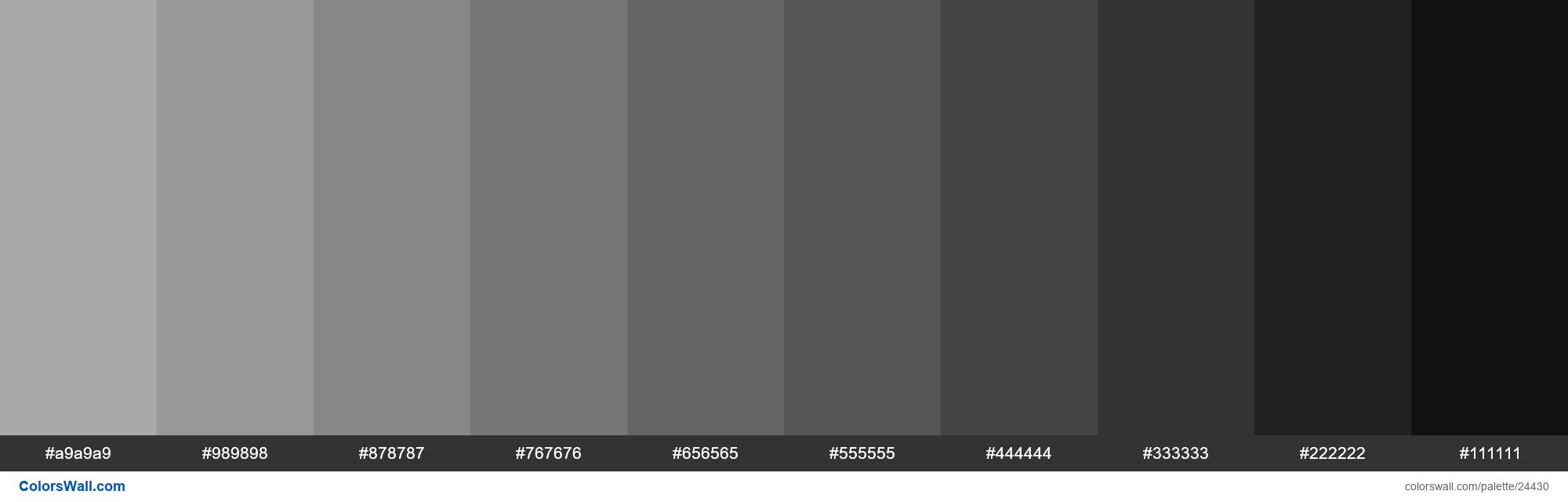 Shades of Dark Gray #A9A9A9 hex color #a9a9a9, #989898 ...
