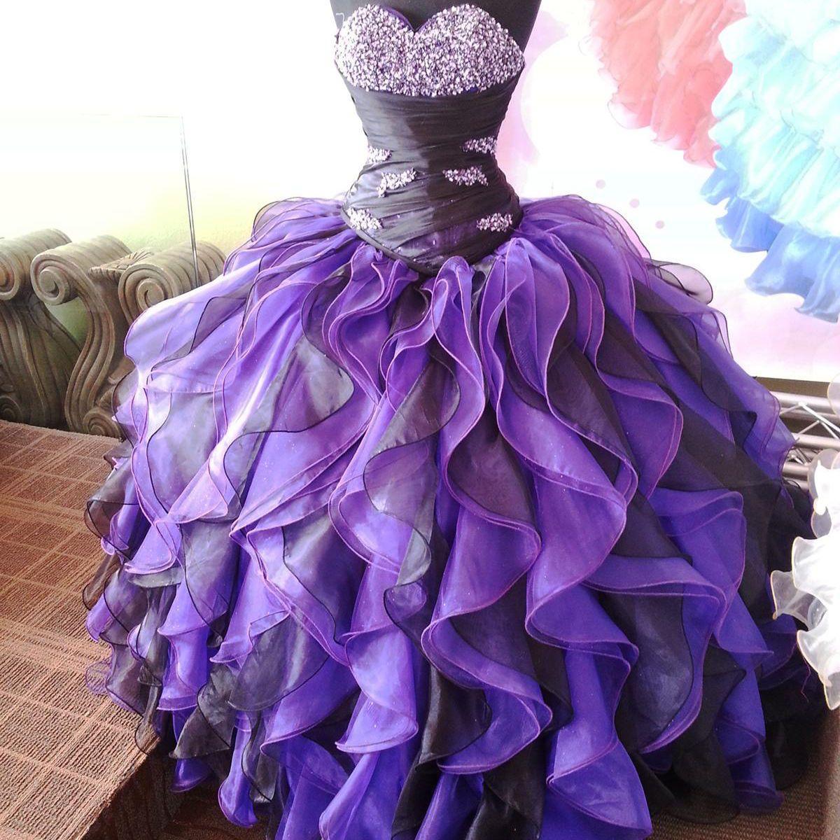 Nice great sweet purpleblack quinceanera dresses pearls ruffle prom
