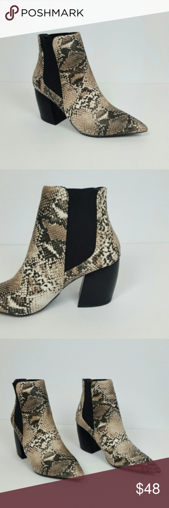 Women's Snake Print Ankle Boot Pointy Toe Love this New Style of Women`s Snake print Ankle Boot  Color Brown - Black Perfect to complement your favorite outfit and be ready for the day! Material: PU LEATHER Heel high : 3 Shoes Ankle Boots & Booties #snakeprintbootsoutfit
