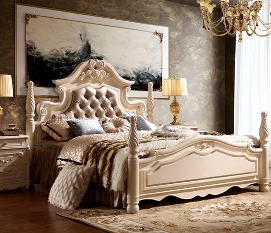 Madera maciza de estilo europeo y cuero cama casa tallados for Dormitorio luis xvi
