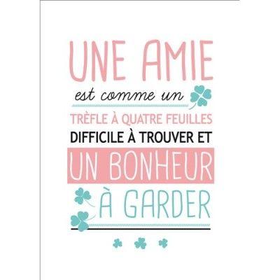 Carte postale message Une amie Un bonheur à garder Kiub de L'Atelier Chez Soi en 2020   Citation ...
