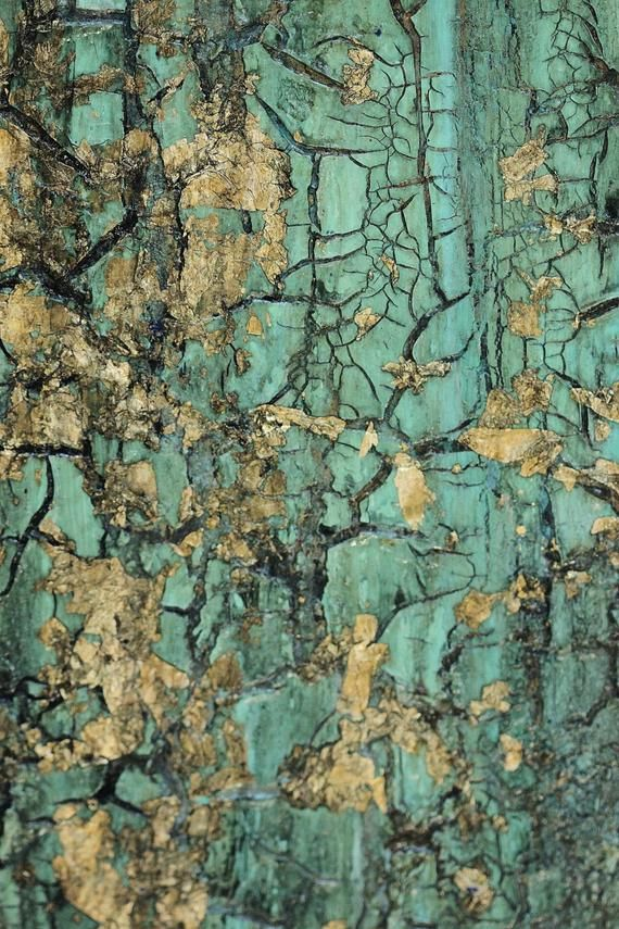 Abstract Texture Painting, Turquoise Blue Green Gold Leaf, Boho Canvas Wall Art
