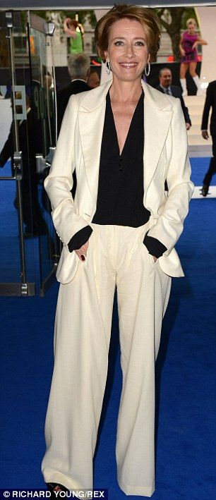 taking it easy:  loose fit white trouser suit  with black shirt ... worn by Emma Thompson