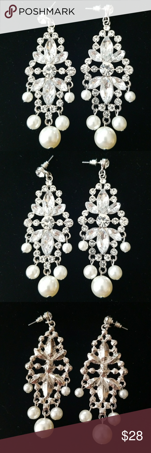 Vintage earrings rhinestone pearl chandelier pearl chandelier vintage earrings rhinestone pearl chandelier arubaitofo Image collections
