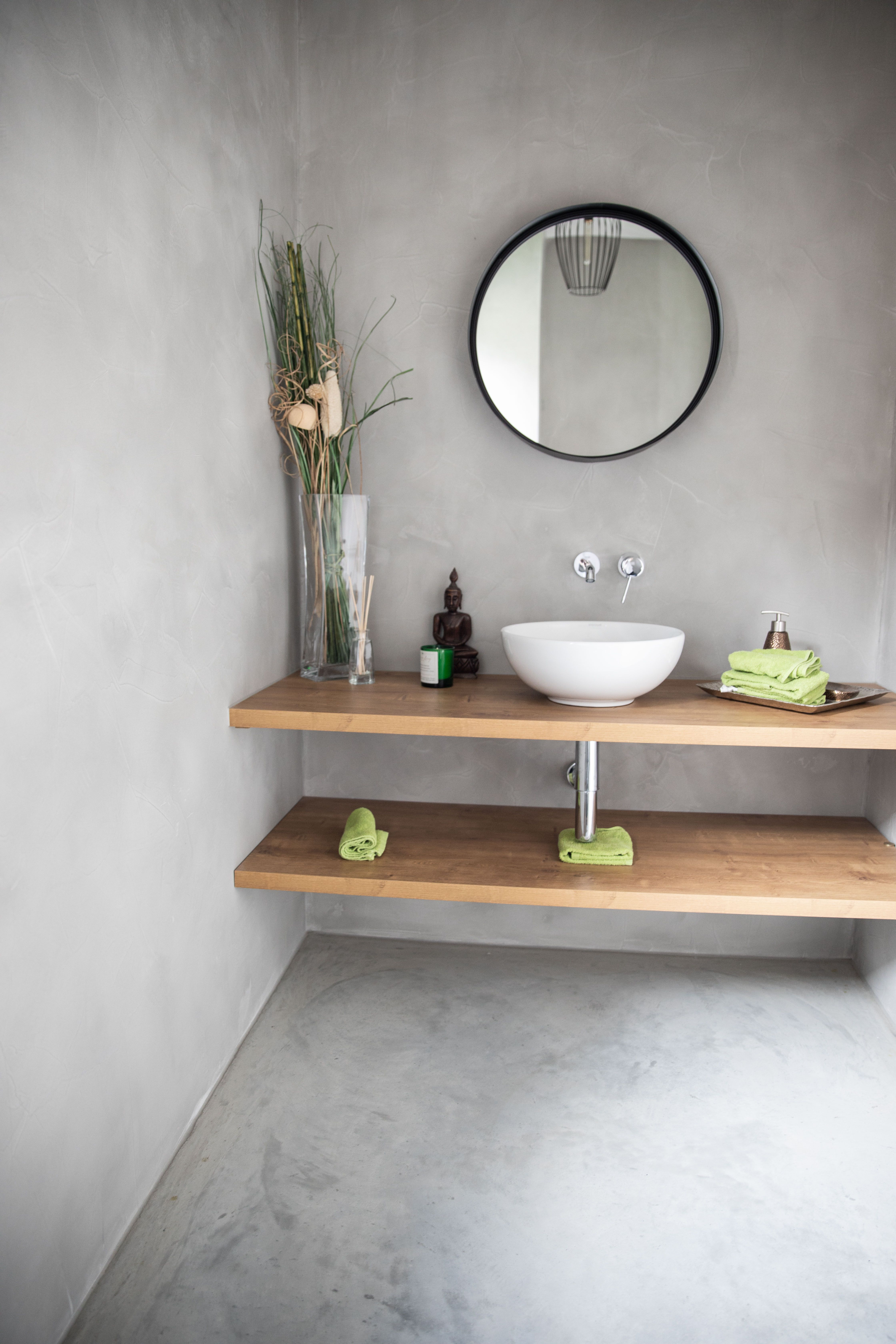 Badezimmer Bad Pandomo Wall Designboden Sichtestrich Betonboden Minimalism Badezimmer Fussboden Wohnung Badezimmer Runde Badezimmerspiegel