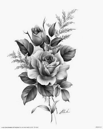 Black And Grey Rose Bud Tattoo